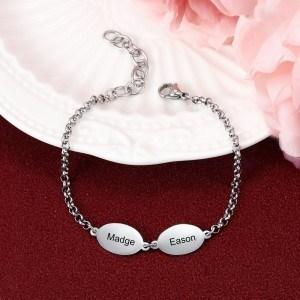 Armband Frau Benutzerdefiniert 2 Medaillons 2 Vornamen