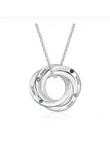 Necklace Woman Custom 4 Names Interlocking Circles