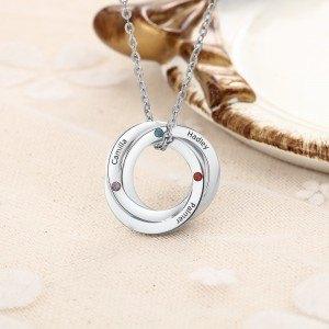 Necklace Woman Custom 3 First Names Interlocking Circles