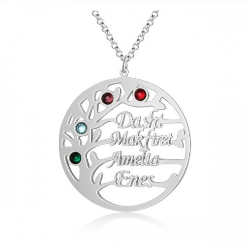 Collar Mujer Personalizado Árbol de la Vida Diseño V2 4 Nombres Plata