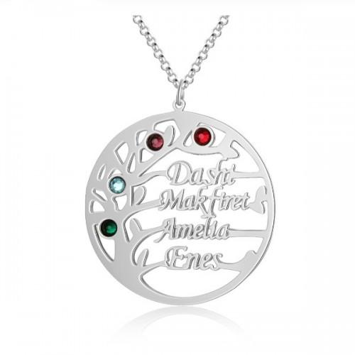 Halsband Kvinna Personlig Tree of Life Design V2 4 Namn Silver