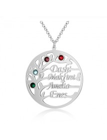 Necklace Woman Personalized Tree of Life Design V2 4 Names Silver