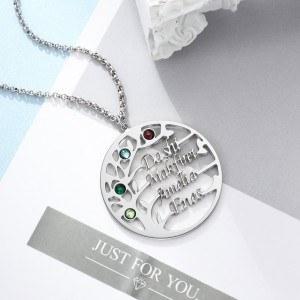 Náhrdelník Žena Personalizovaný strom života Design V2 4 jména stříbrný