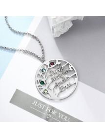Halskette Frau personalisierte Baum des Lebens Design V2 4 Namen Silber