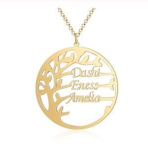 Halskette Frau Benutzerdefinierten Baum Des Lebens Simply 3 Vornamen Gold