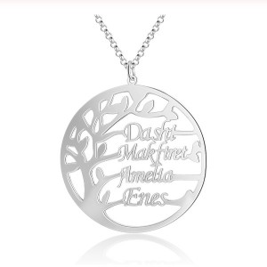 Necklace Woman Custom Tree Of Life Simply 4 Names Silver