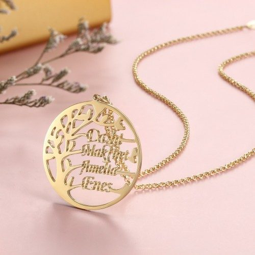 Halskette Frau Benutzerdefinierten Baum Des Lebens Simply 4 Vornamen Gold