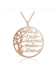 Necklace Woman Custom Tree Of Life Simply 4 First Names Golden Rose Gold