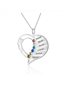 Collier Femme Personnalisé Coeur MOM Design 4 à 6 Prénoms