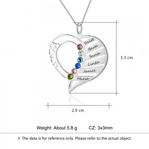 Collier Femme Personnalisé Coeur MOM Design 4 à 6 Prénoms Dimensions