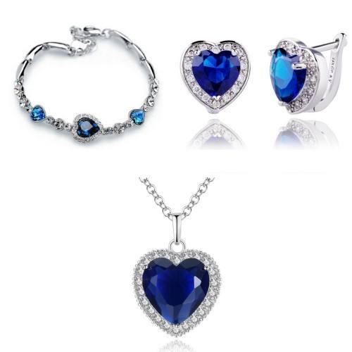 Parure Collier Bracelet Boucles Coeur de L'Océan V2 Couleur Argent Bleu