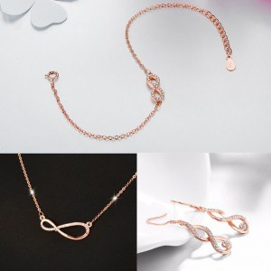 Set di gioielli da donna Collana Bracciale Infinito Fibbie asimmetriche Colore oro rosa
