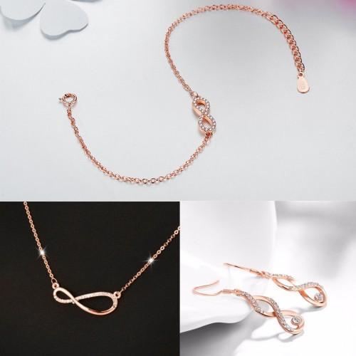 Parure Bijoux Femme Collier Bracelet Boucles Infini Asymétrique Couleur Or Rose