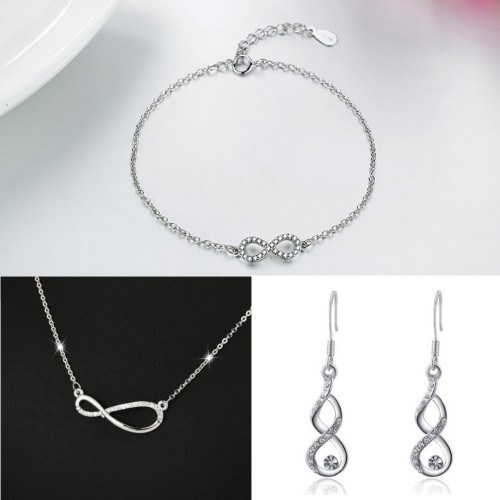 Set Necklace Bracelet Infinity Buckles Asymmetric Silver Color