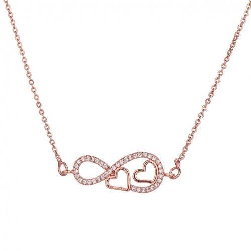 Collar Mujer Infinito Y Corazón Premium V2 Color Oro Rosa