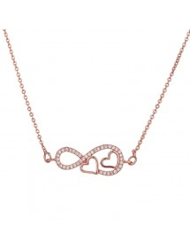 Woman Necklace Infinity And Heart Premium V2 Color Rose Gold