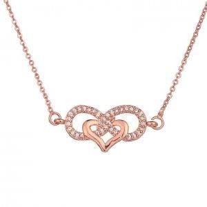 Kvindekæde Infinity And Heart Premium V3 Farve Rose Gold