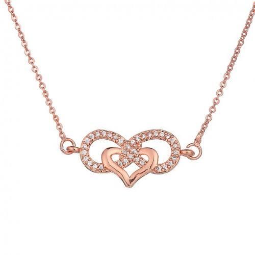 Collar Mujer Infinito Y Corazón Premium V3 Color Oro Rosa