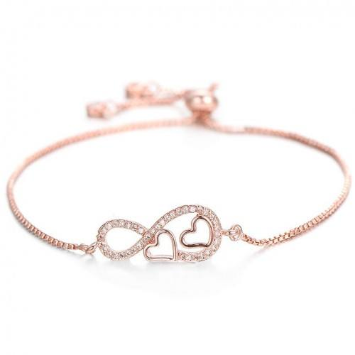 Bracelet Femme Infini et Coeur Premium V2 Couleur Or Rose