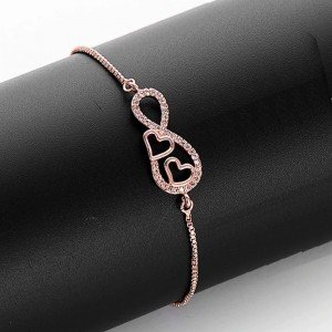 Bracelet Woman Infinity and Heart Premium V2 Color Rose Gold 2