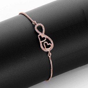 Pulsera Mujer Infinito y Corazón Premium V2 Color Oro Rosa 2