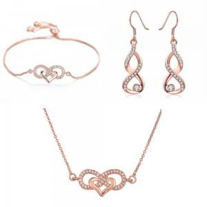 Infinity Heart Jewelry Set Premium V3 Color oro rosa