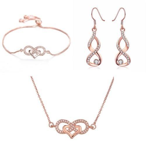 Parure Bijoux Infini Coeur Premium V3 Couleur Or Rose