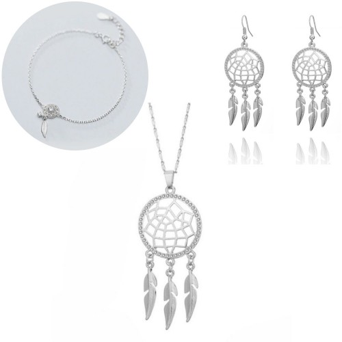 Jewelry Set Necklace Bracelet Buckles Dream Catcher V2 Silver Color