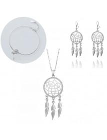 Conjunto de joyas Collar Pulsera Hebillas Atrapasueños V2 Color plata