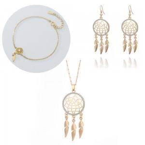 Parure Bijoux Collier Bracelet Boucles Attrape Rêve V2 Couleur Or