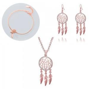 Parure Bijoux Collier Bracelet Boucles Attrape Rêve V2 Couleur Or Rose