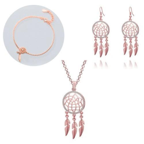Conjunto de joyas Collar Pulsera Hebillas Atrapasueños V2 Color oro rosa
