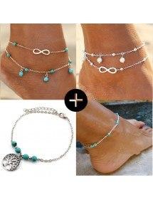 Lotto 4 catene alla caviglia V2 Infinity Tree of Life color argento