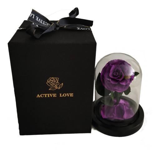 Fleur Rose Éternelle Violet Véritable Premium Cloche Et Boîte Cadeau
