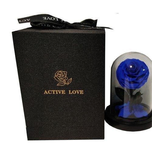 Fleur Rose Éternelle Bleu Véritable Premium Cloche Et Boîte Cadeau