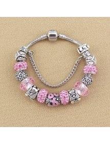 Bracelet de Charms Pierres De Rose Argent_Rose 2