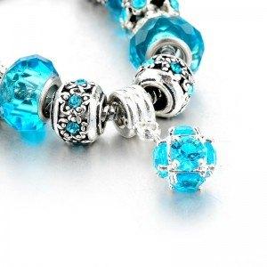 Pulsera De Charms De BlueBall Ajustable Argent_Bleu 3