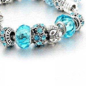 Pulsera De Charms De BlueBall Ajustable Argent_Bleu 2