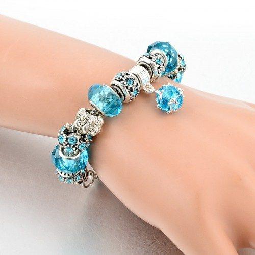 Bracelet de Charms BlueBall Réglable Argent_Bleu