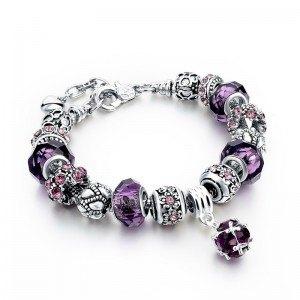 Bracelet Charms PurpleBall Adjustable Argent_Violet