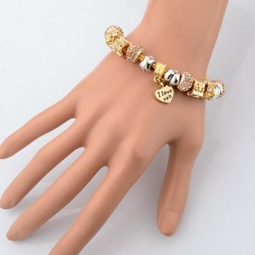 Bracelet de Charms GoldHeart Réglable Coeur Or