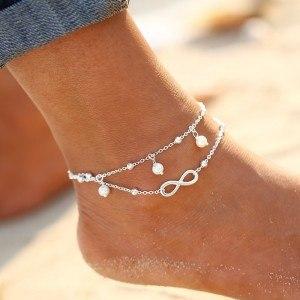 Řetěz kotníku - Nekonečno a perly - White_Silver 2