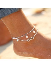Corrente de tornozelo - infinito e pérolas - White_Silver 2