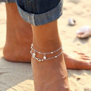 Knöchelkette - Infinity und Perlen - White_Silver 3