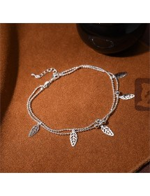 Chain-of-Ankle - Leaves - Silver 2