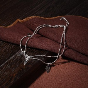 Chain-of-Ankle - Leaves - Silver-3