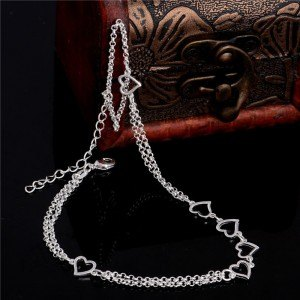 Chain of Ankle - Hearts - Silver