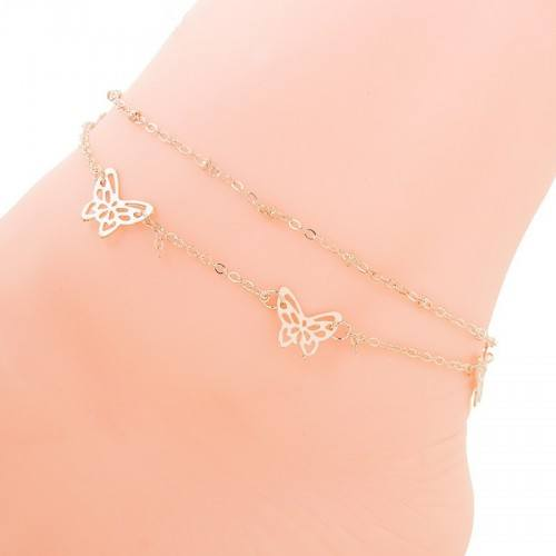 Chain of Ankle - Butterflies - Gold