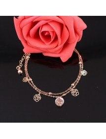 Chaine de Cheville - Roses - Or 2