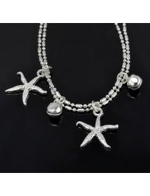 La cadena de Tobillo - estrella de mar - Plata 3